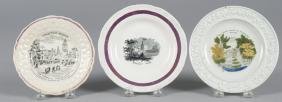 Three pearlware plates, 19th c., with transfer de