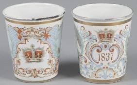 Two enamel beakers celebrating the diamond jubile