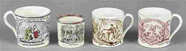Four Staffordshire childs cups 19th c with tr