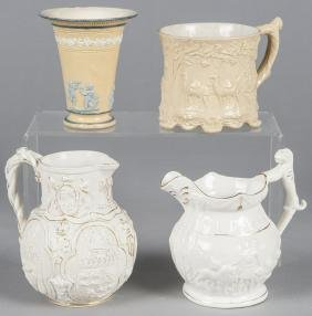 Four pieces of English pottery, to include a pitc