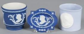 Five pieces of Wedgwood jasperware decorated with