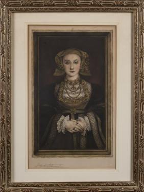 Seven framed prints, mostly English royalty.