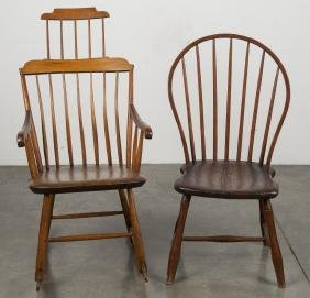 Highback Windsor rocking chair, early 19th c., to