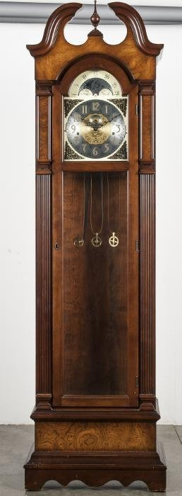 Colonial grandfathers clock, 80'' h.