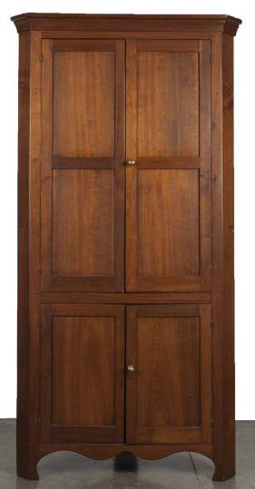 Pennsylvania walnut one - piece corner cupboard,