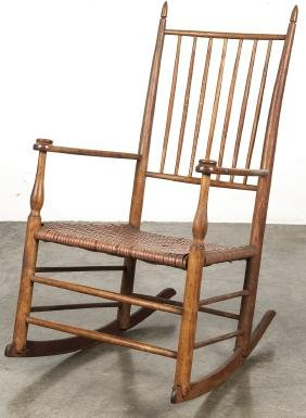 Shaker rush seat rocking chair.