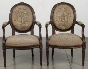 Pair of French needlepoint fauteuils, late 19th c