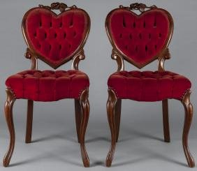 Pair of Victorian style side chairs with heart-sh