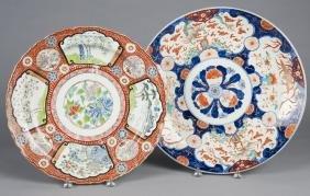 Two Imari porcelain chargers, ca. 1900, 16'' dia.