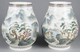Pair of Chinese hundred deer porcelain vases, 14