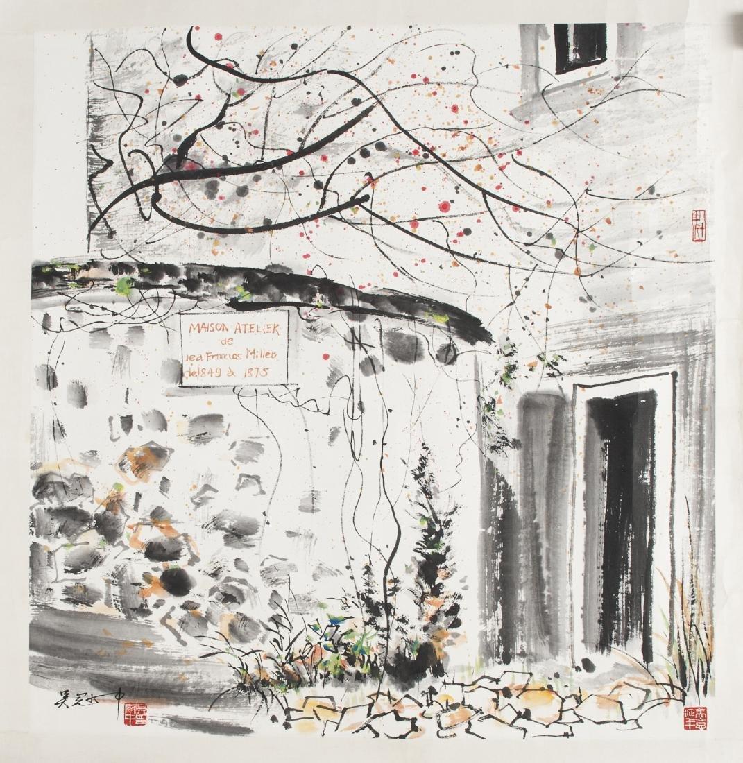 Chinese watercolor of the Maison Atelier de Franc