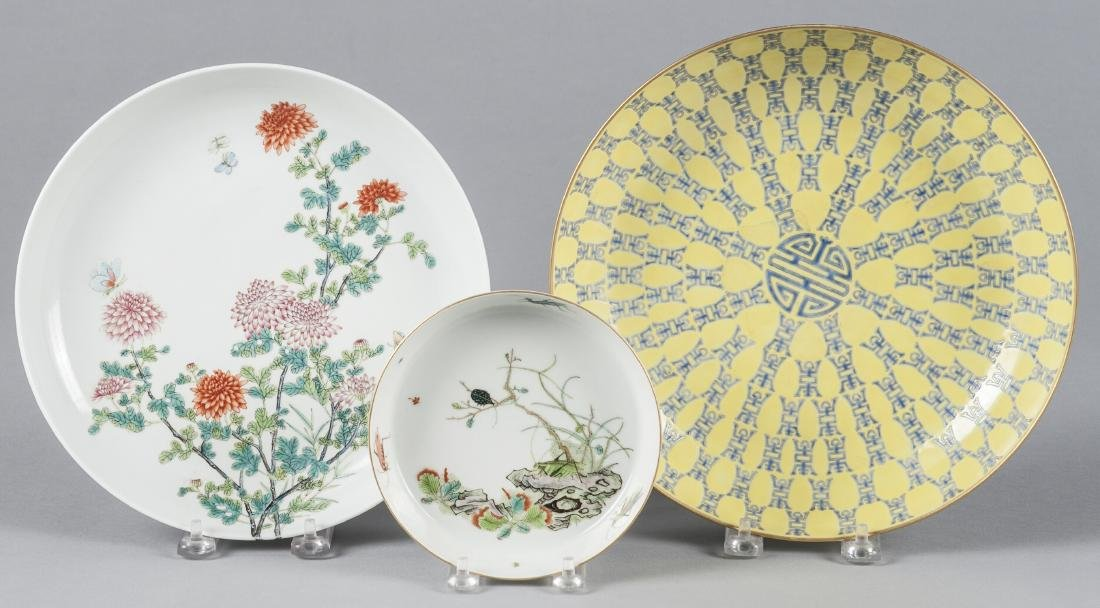 Three Chinese porcelain dishes, 5 1/2'' dia., 9 1/