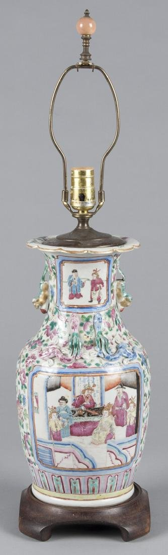 Chinese famille rose porcelain table lamp, 19th c