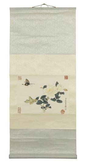 Three Chinese watercolor scrolls, together with a