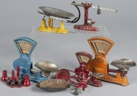 Six cast iron toy balance scales, tallest - 6''.