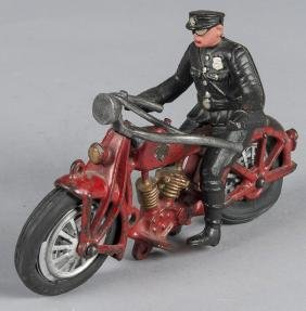 Hubley cast iron motorcycle with police driver, 8