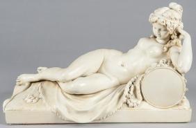 Plaster female nude, 13'' h., 21'' w.