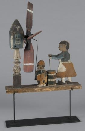 Painted whirligig, early 20th c., of a woman chur