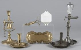 Lighting, to include a pewter lamp, snuffer, tin