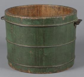 Painted pine bucket, 19th c., retaining its origi
