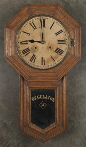 Ansonia oak regulator clock, 31 1/4'' h,