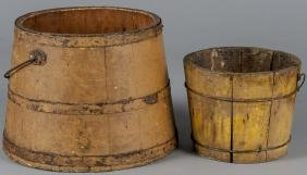 Two painted buckets, ca. 1900, retaining their or