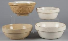 Four pottery mixing bowls, largest - 5 1/2'' h., 1
