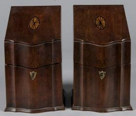 Pair of Georgian style mahogany knife boxes, 14''