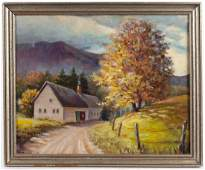 Oil on board landscape, signed Louise Demeter,