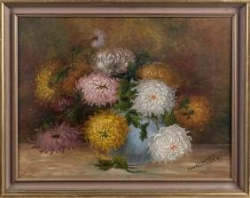 American oil on board floral still life, dated 1