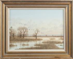 Nicholas Mace (British 1949), oil on board geese