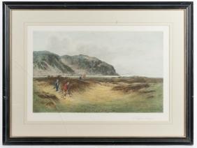 Arthur Weaver signed print, golfing at St. Andrew