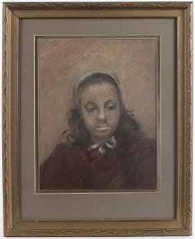 French pastel portrait of a woman, mid 19th c., 1