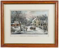 Currier  Ives color lithograph titled American