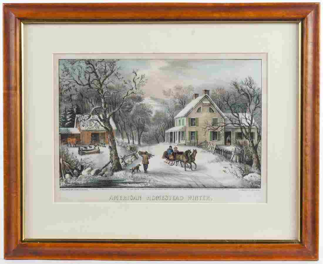 Currier & Ives color lithograph, titled American