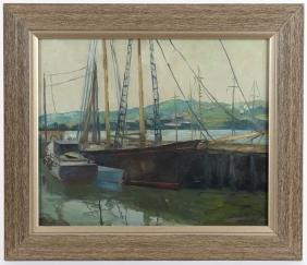Oil on canvas harbor scene, after Edgar Payne, 18