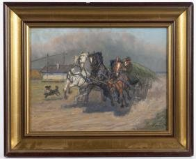 Oil on board of a man riding a horse drawn cart,