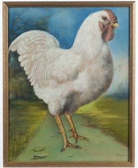 Two pastels of chickens, one signed Alma Edna Fl