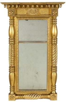 Federal giltwood mirror, ca. 1820, 40 1/2'' x 20''.
