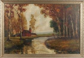 Oil on canvas autumn landscape, early/mid 20th c.