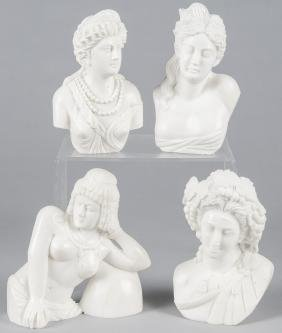 Four contemporary carved marble female busts, tal