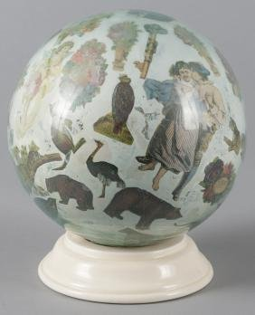 Decoupage glass globe on stand, 9 1/2'' h.