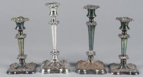 Two pairs of Sheffield plate candlesticks, 19th c