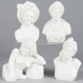 Four contemporary marble female busts, tallest -