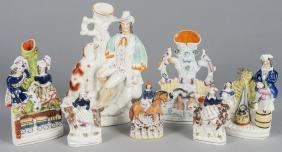 Four Staffordshire spill vases, 19th c., together