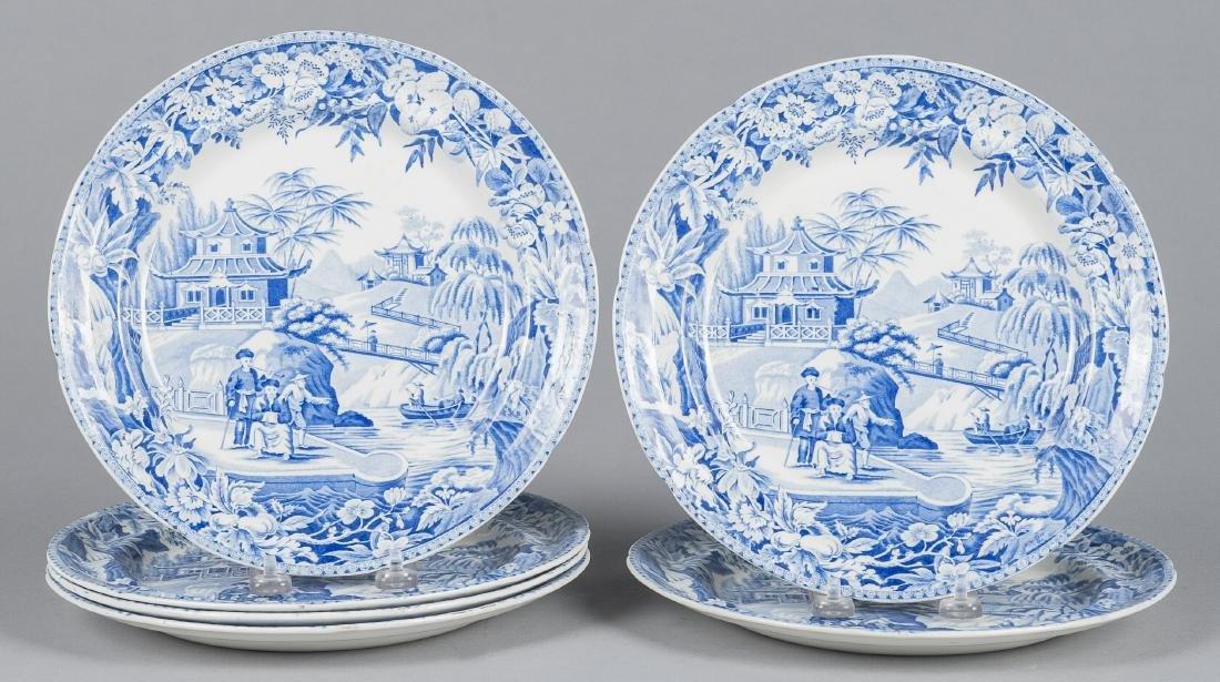 Set of six Davenport Staffordshire plates, 19th c