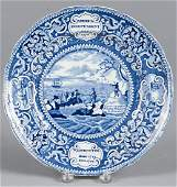 Historical blue Staffordshire Landing of the Fath