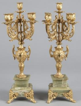 French gilt bronze and marble three-piece clock g