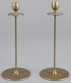 Pair of Jarvie arts and crafts brass candlesticks