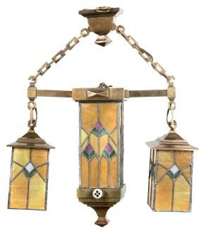 Arts and Crafts brass and leaded glass chandelier